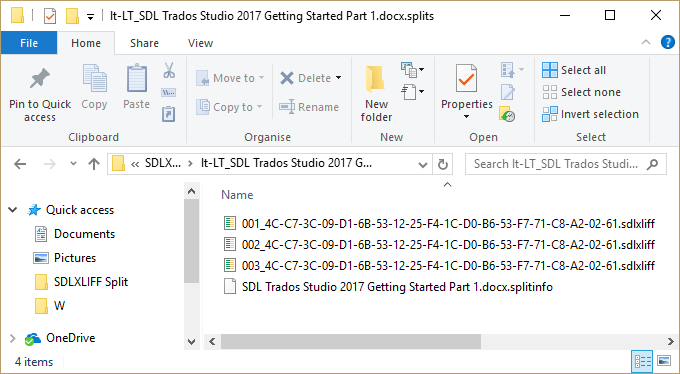 trados studio split files